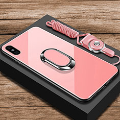 Custodia Silicone Specchio Laterale Cover con Anello Supporto per Xiaomi Mi 8 Explorer Oro Rosa