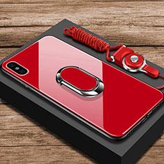 Custodia Silicone Specchio Laterale Cover con Anello Supporto per Xiaomi Mi 8 Explorer Rosso