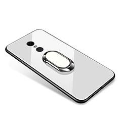 Custodia Silicone Specchio Laterale Cover con Anello Supporto per Xiaomi Redmi 5 Plus Bianco