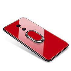 Custodia Silicone Specchio Laterale Cover con Anello Supporto per Xiaomi Redmi 5 Plus Rosso