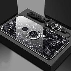 Custodia Silicone Specchio Laterale Cover con Magnetico Anello Supporto A01 per Xiaomi Mi 6X Nero