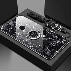Custodia Silicone Specchio Laterale Cover con Magnetico Anello Supporto A01 per Xiaomi Mi 8 Lite Nero