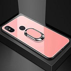 Custodia Silicone Specchio Laterale Cover con Magnetico Anello Supporto A01 per Xiaomi Mi A2 Lite Oro Rosa