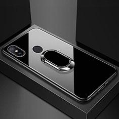 Custodia Silicone Specchio Laterale Cover con Magnetico Anello Supporto A01 per Xiaomi Redmi 6 Pro Nero