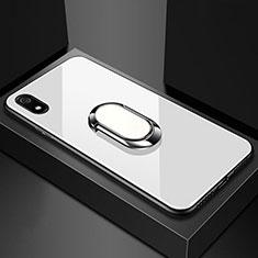 Custodia Silicone Specchio Laterale Cover con Magnetico Anello Supporto A01 per Xiaomi Redmi 7A Bianco