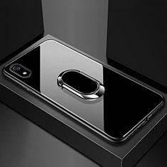 Custodia Silicone Specchio Laterale Cover con Magnetico Anello Supporto A01 per Xiaomi Redmi 7A Nero