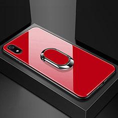 Custodia Silicone Specchio Laterale Cover con Magnetico Anello Supporto A01 per Xiaomi Redmi 7A Rosso