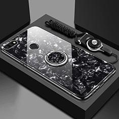 Custodia Silicone Specchio Laterale Cover con Magnetico Anello Supporto M01 per Huawei Honor 7A Nero