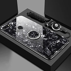 Custodia Silicone Specchio Laterale Cover con Magnetico Anello Supporto M01 per Huawei Y6 (2018) Nero
