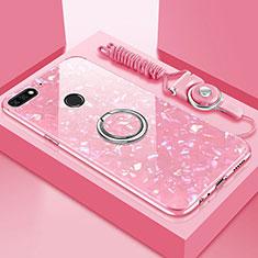 Custodia Silicone Specchio Laterale Cover con Magnetico Anello Supporto M01 per Huawei Y6 (2018) Oro Rosa