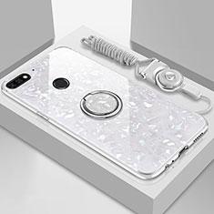 Custodia Silicone Specchio Laterale Cover con Magnetico Anello Supporto M01 per Huawei Y6 Prime (2018) Bianco