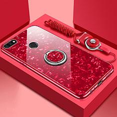 Custodia Silicone Specchio Laterale Cover con Magnetico Anello Supporto M01 per Huawei Y6 Prime (2018) Rosso