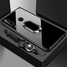 Custodia Silicone Specchio Laterale Cover con Magnetico Anello Supporto per Huawei Enjoy 10 Plus Nero