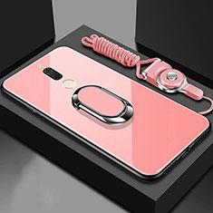 Custodia Silicone Specchio Laterale Cover con Magnetico Anello Supporto per Huawei G10 Oro Rosa