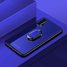 Custodia Silicone Specchio Laterale Cover con Magnetico Anello Supporto per Huawei Honor 20 Pro Blu
