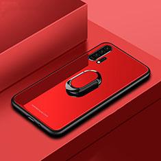 Custodia Silicone Specchio Laterale Cover con Magnetico Anello Supporto per Huawei Honor 20 Pro Rosso