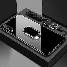 Custodia Silicone Specchio Laterale Cover con Magnetico Anello Supporto per Huawei Honor 9X Nero