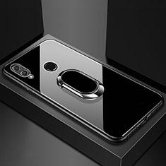 Custodia Silicone Specchio Laterale Cover con Magnetico Anello Supporto per Huawei Honor V10 Lite Nero
