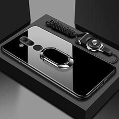 Custodia Silicone Specchio Laterale Cover con Magnetico Anello Supporto per Huawei Mate 20 Lite Nero