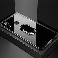 Custodia Silicone Specchio Laterale Cover con Magnetico Anello Supporto per Huawei Nova 3e Nero