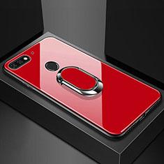 Custodia Silicone Specchio Laterale Cover con Magnetico Anello Supporto per Huawei Y6 (2018) Rosso
