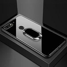 Custodia Silicone Specchio Laterale Cover con Magnetico Anello Supporto per Huawei Y6 Prime (2018) Nero