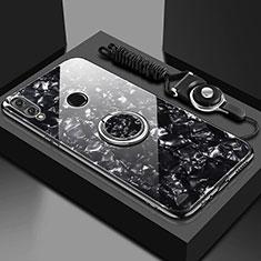 Custodia Silicone Specchio Laterale Cover con Magnetico Anello Supporto per Huawei Y9 (2019) Nero