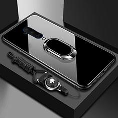Custodia Silicone Specchio Laterale Cover con Magnetico Anello Supporto per OnePlus 7T Pro Nero