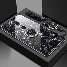 Custodia Silicone Specchio Laterale Cover con Magnetico Anello Supporto per Oppo A9 Nero