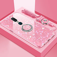 Custodia Silicone Specchio Laterale Cover con Magnetico Anello Supporto per Oppo A9X Rosa