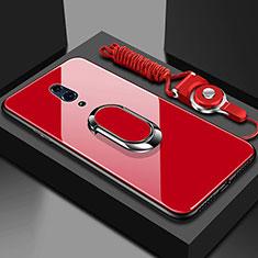 Custodia Silicone Specchio Laterale Cover con Magnetico Anello Supporto per Oppo K3 Rosso