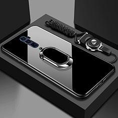 Custodia Silicone Specchio Laterale Cover con Magnetico Anello Supporto per Oppo Reno 10X Zoom Nero
