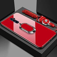 Custodia Silicone Specchio Laterale Cover con Magnetico Anello Supporto per Oppo Reno 10X Zoom Rosso