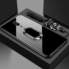 Custodia Silicone Specchio Laterale Cover con Magnetico Anello Supporto per Oppo Reno Z Nero