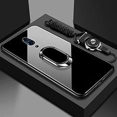Custodia Silicone Specchio Laterale Cover con Magnetico Anello Supporto per Realme X Nero
