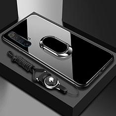 Custodia Silicone Specchio Laterale Cover con Magnetico Anello Supporto per Realme X3 SuperZoom Nero