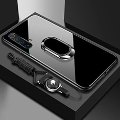 Custodia Silicone Specchio Laterale Cover con Magnetico Anello Supporto per Realme X50 5G Nero