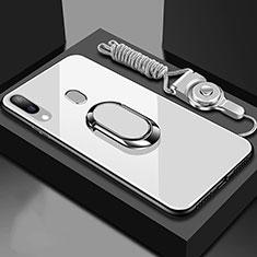 Custodia Silicone Specchio Laterale Cover con Magnetico Anello Supporto per Samsung Galaxy A30 Bianco