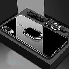 Custodia Silicone Specchio Laterale Cover con Magnetico Anello Supporto per Samsung Galaxy A30 Nero