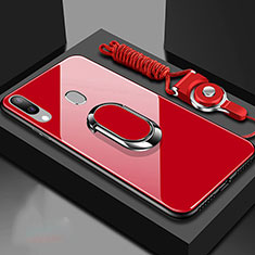 Custodia Silicone Specchio Laterale Cover con Magnetico Anello Supporto per Samsung Galaxy A30 Rosso