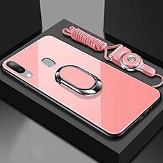 Custodia Silicone Specchio Laterale Cover con Magnetico Anello Supporto per Samsung Galaxy A40 Oro Rosa