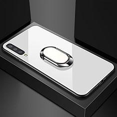 Custodia Silicone Specchio Laterale Cover con Magnetico Anello Supporto per Samsung Galaxy A70 Bianco