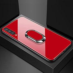 Custodia Silicone Specchio Laterale Cover con Magnetico Anello Supporto per Samsung Galaxy A70 Rosso