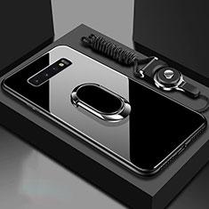 Custodia Silicone Specchio Laterale Cover con Magnetico Anello Supporto per Samsung Galaxy S10 Nero