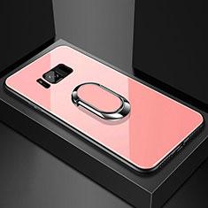 Custodia Silicone Specchio Laterale Cover con Magnetico Anello Supporto per Samsung Galaxy S8 Plus Oro Rosa