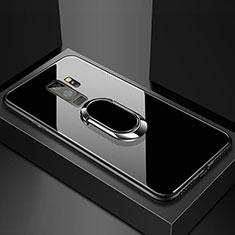 Custodia Silicone Specchio Laterale Cover con Magnetico Anello Supporto per Samsung Galaxy S9 Plus Nero