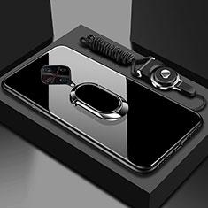 Custodia Silicone Specchio Laterale Cover con Magnetico Anello Supporto per Vivo X50 Lite Nero