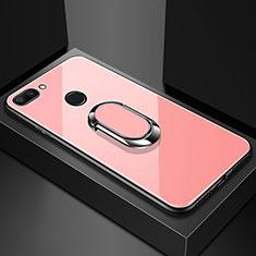 Custodia Silicone Specchio Laterale Cover con Magnetico Anello Supporto per Xiaomi Mi 8 Lite Oro Rosa