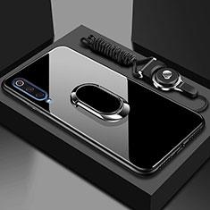 Custodia Silicone Specchio Laterale Cover con Magnetico Anello Supporto per Xiaomi Mi A3 Nero
