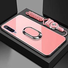 Custodia Silicone Specchio Laterale Cover con Magnetico Anello Supporto per Xiaomi Mi A3 Oro Rosa